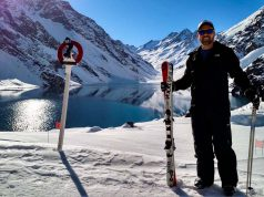 Aprendendo a esquiar em Portillo, às margens da Laguna del Inca