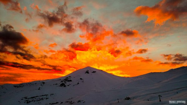 Pôr-do-sol no Valle Nevado