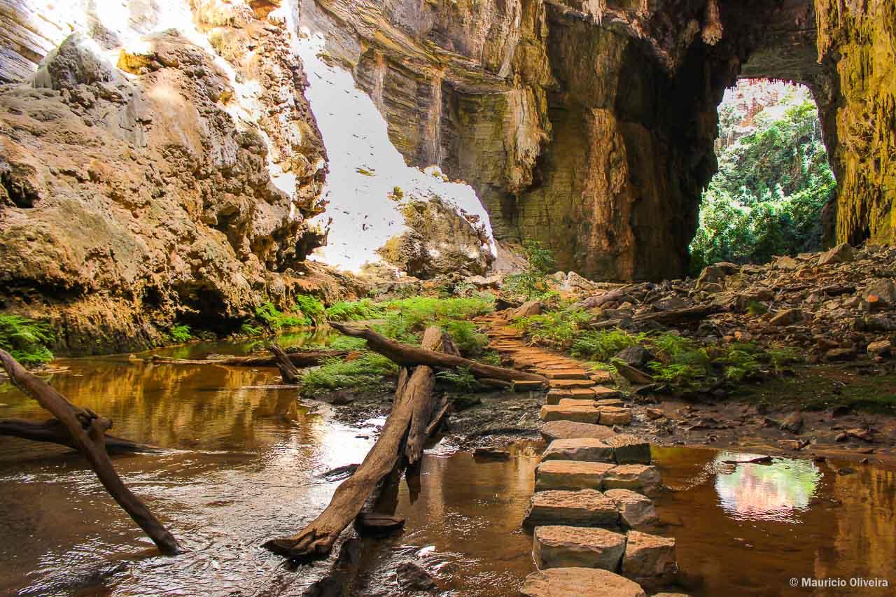 O Rio Peruaçu corta toa a Gruta do Janelão, com uma pequena floresta cheia de vida