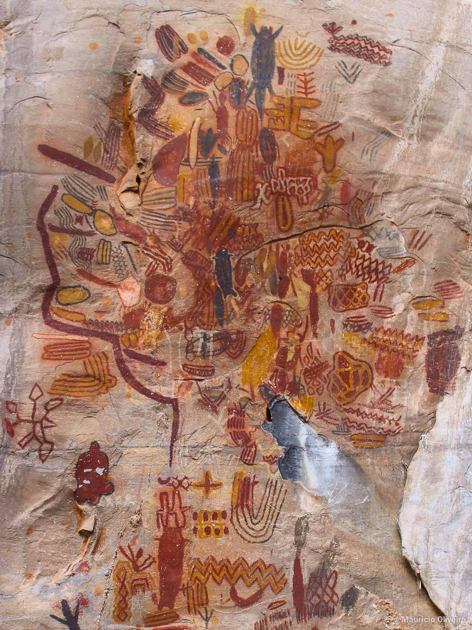 Obra de arte na Lapa dos Desenhos, no Parque Nacional Cavernas do Peruaçu