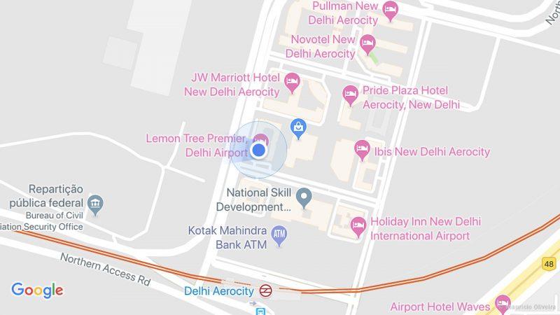 Mapa de Hoteis no Aerocity - Perto do aeroporto de Delhi